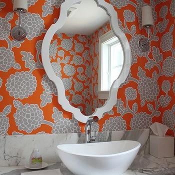 Orange And Gray Bathroom Wallpaper