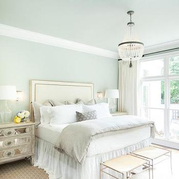 Taupe headboard and bedskirt transitional bedroom for Blue and taupe bedroom ideas