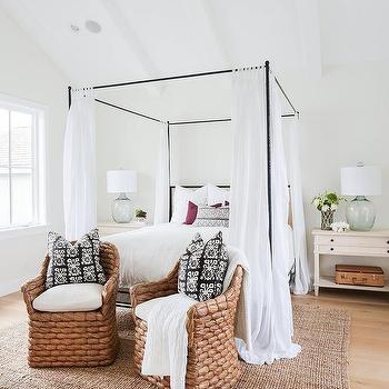 iron canopy bed with headboard and white sheer panels cottage bedroom. Black Bedroom Furniture Sets. Home Design Ideas