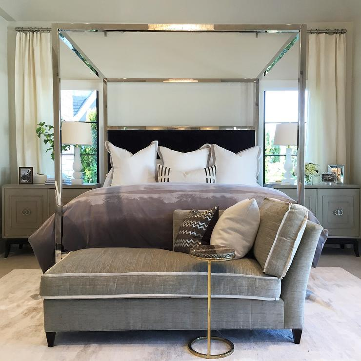 Mirrored Canopy Bed With Black Velvet Headboard