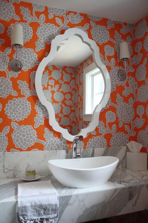 Orange and gray bathroom wallpaper transitional bathroom for Orange and grey bathroom accessories