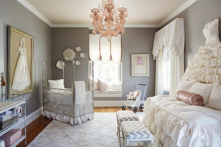 Gray striped nursery with gray beaded chandelier transitional view full size aloadofball Image collections