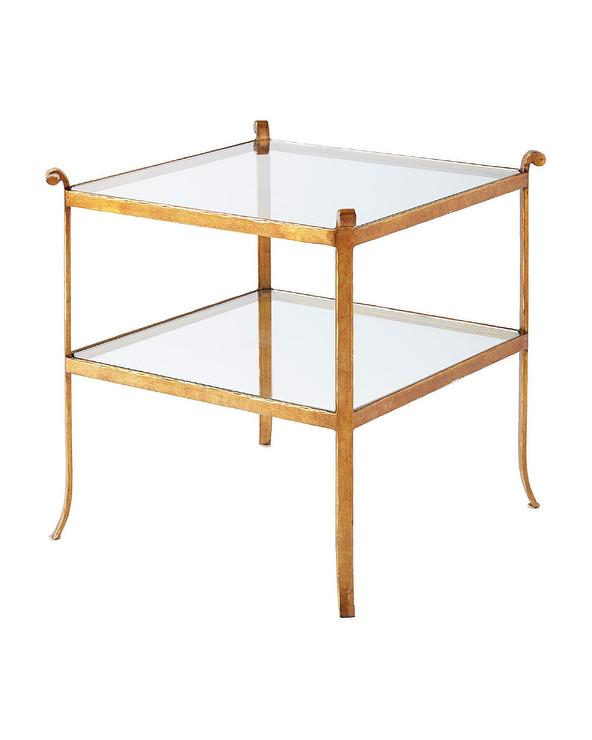 St Germain Brass Side Table - Two tier glass side table