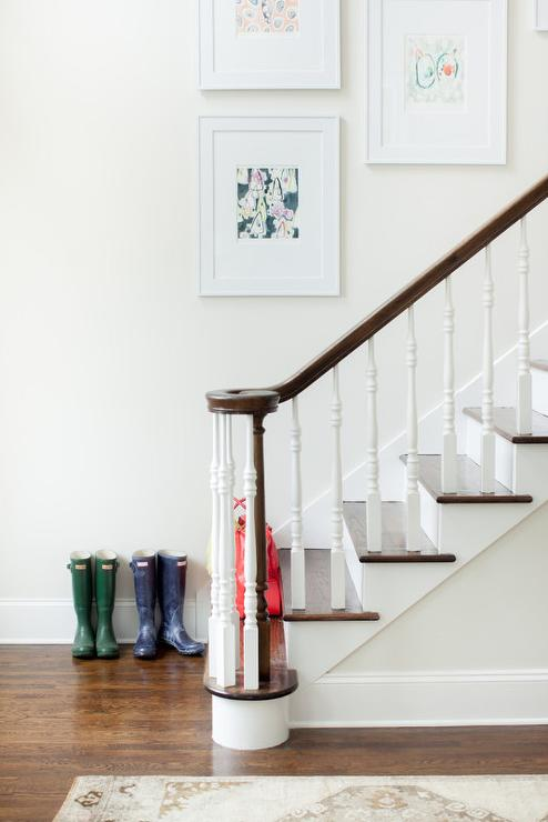 White Staircase Spindles With Stained Railing