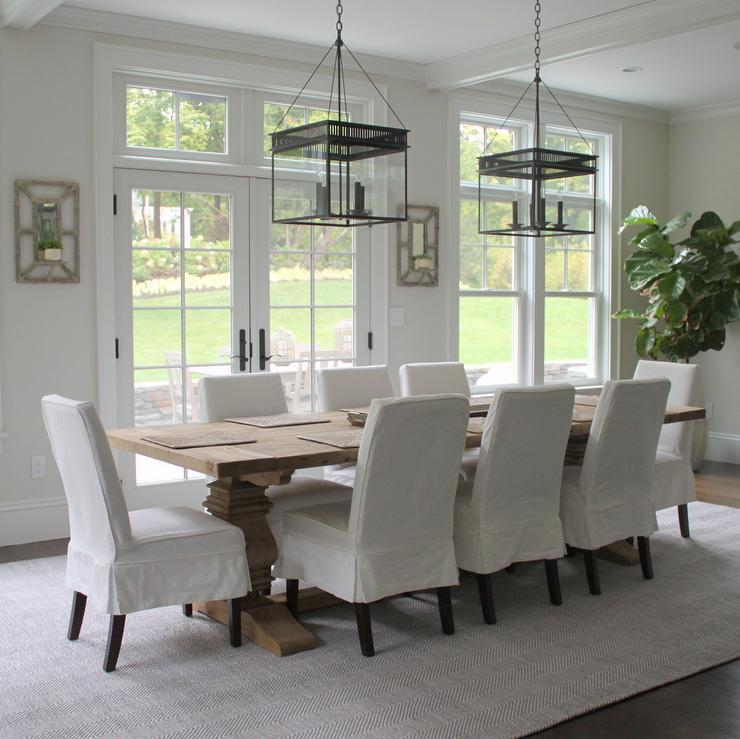 Beautiful Dining Room Features A Pair Of The Urban Electric Co Chisholm  Lanterns Illuminating A Restoration Hardware Salvaged Wood Trestle  Rectangular ...
