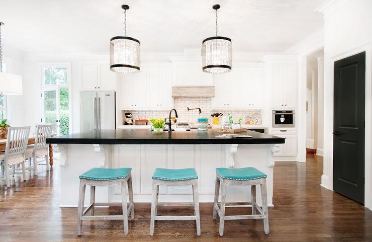 Turquoise Island Stools Transitional Kitchen