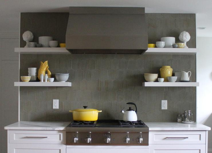 White Kitchen Cabinets with Gray Tile Backsplash - Contemporary