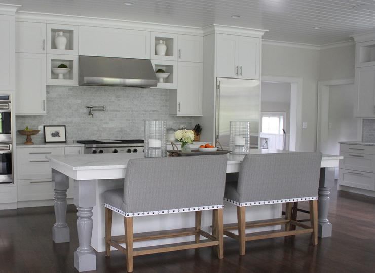 white kitchen island grey turned legs grey marble tile backsplash jpg
