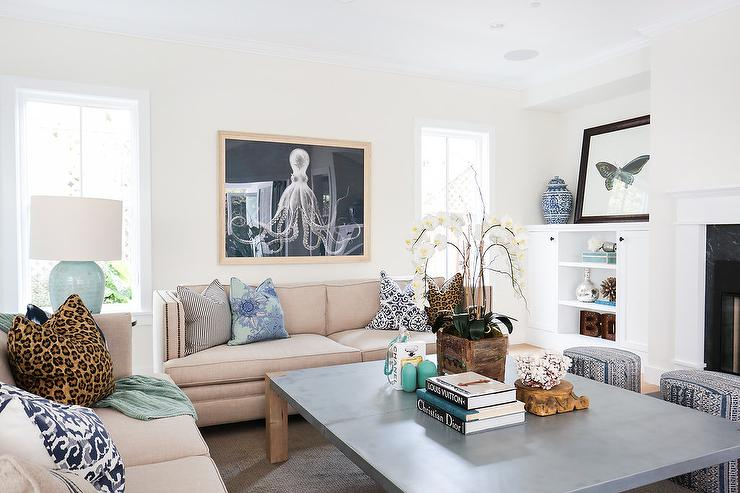 zinc top coffee table - cottage - living room