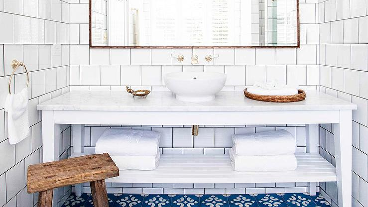 White And Blue Bathroom With Blue Mediterranean Tiles Transitional - White square tile bathroom