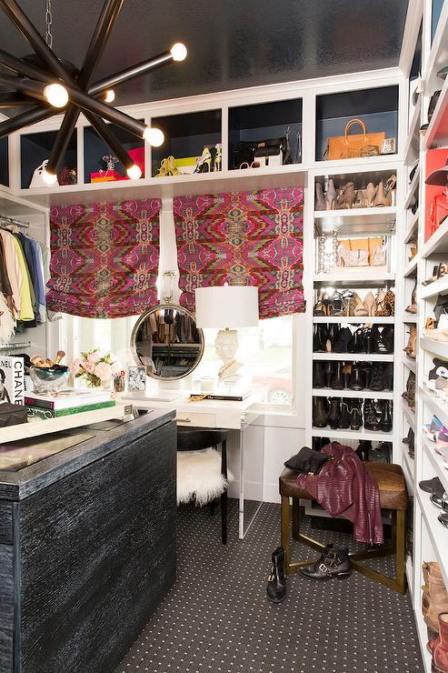 Black closet island with glass top contemporary closet for Closet island with glass top