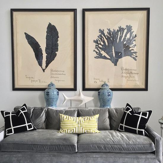 Gray Velvet Sofa With Black Greek Key Pillows