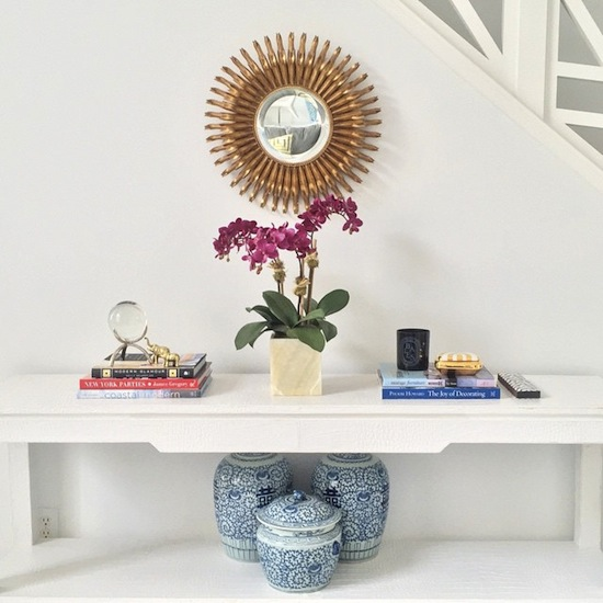 Global Views Link Console: White Console Table With Gold Sunburst Mirror