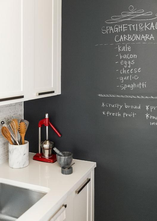 Kitchen with chalkboard accent wall transitional kitchen for Kitchen accent wall
