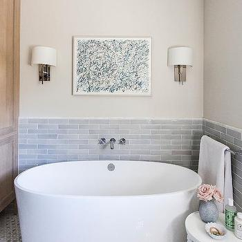 Fern Art Over Freestanding Oval Tub Cottage Bathroom