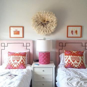 Greek Key Headboard Contemporary Girl S Room Tracy