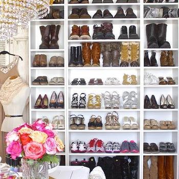 Walk In Closet With Freestanding Shoe Shelves