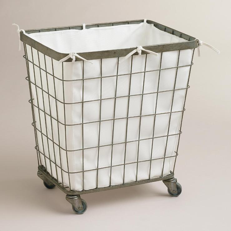 Grey White Stripe Laundry Hamper In Utility Crate And Barrel