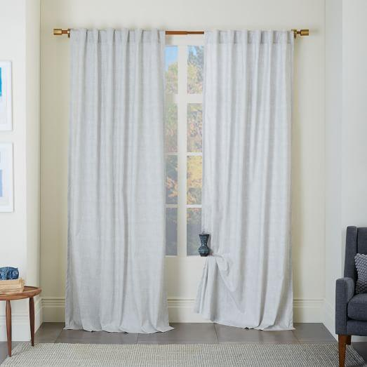 Cotton Canvas Chambray Print Platinum Curtain
