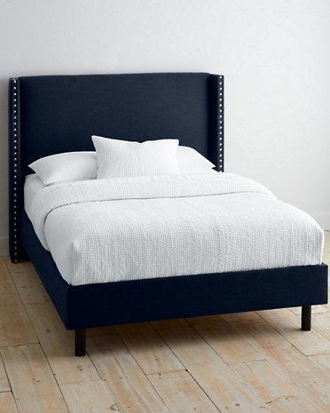 Very Fairbanks Navy Upholstered Bed DV77