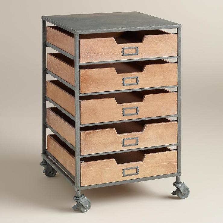 wood and metal 5drawer frederick brown and silver rolling cart