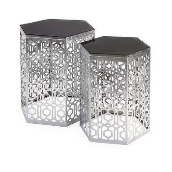 Silver Geometric Hexagon Metal Accent Table