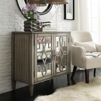 Cortona Scroll Antique Mirrored Double Door Side Chest Brown Silver Cabinet