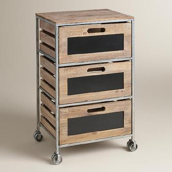 Wood And Metal 5 Drawer Frederick Brown And Silver Rolling