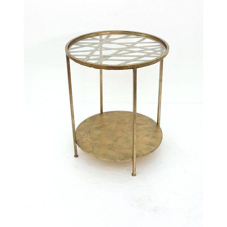 Teton home round glass top goldtone metal end table for Glass end tables