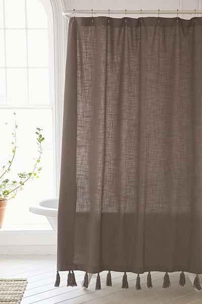 Plum And Bow Tassel Fringe Grey Shower Curtain