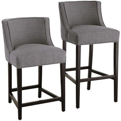 Gray Upholstered Black Legs Kelly Stool