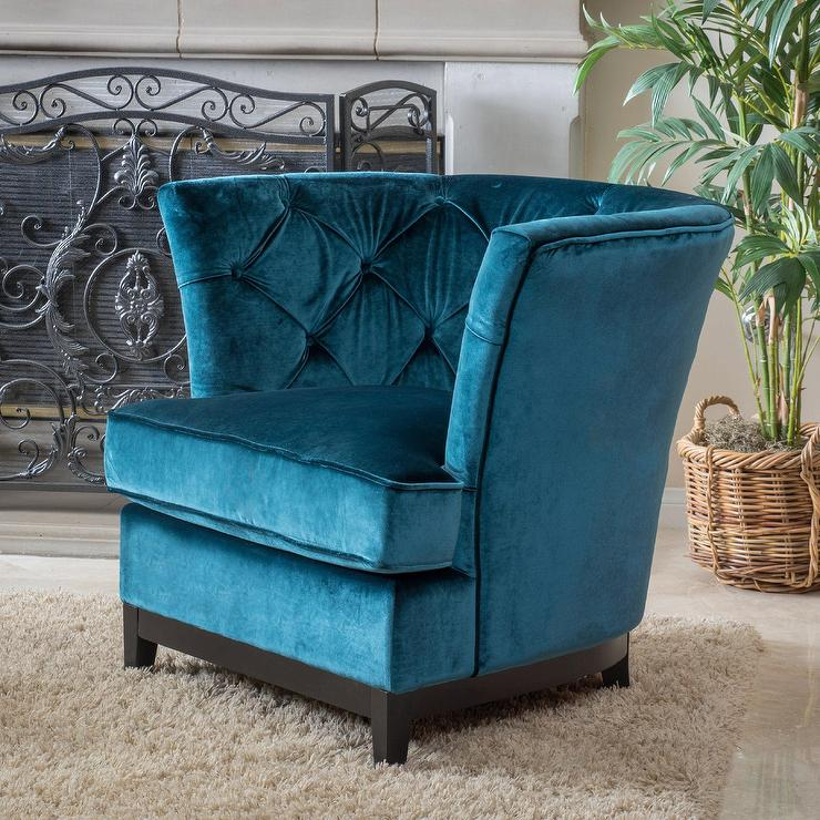 Sky Blue Channel Tufted Chair