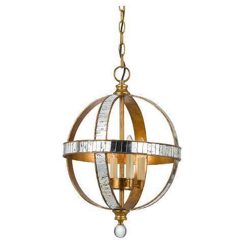 cal lighting passe mirror metal gold ceiling pendant - Cal Lighting