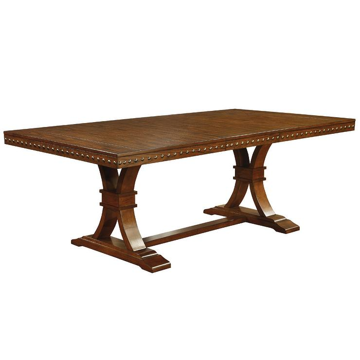 Furniture of america ralphie industrial style dark oak for Dark wood dining table