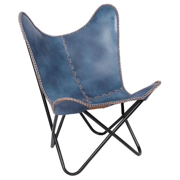 Blue Leather Butterfly Chair with Black Frame – Navy Blue Leather Chairs