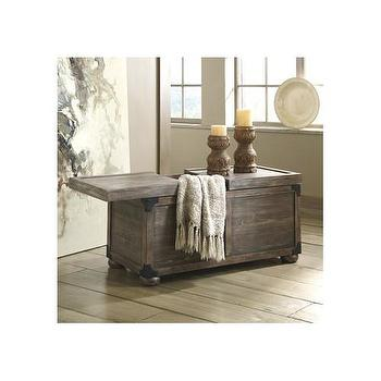 Tyson Wood Storage Trunk Coffee Table - Grey chest coffee table