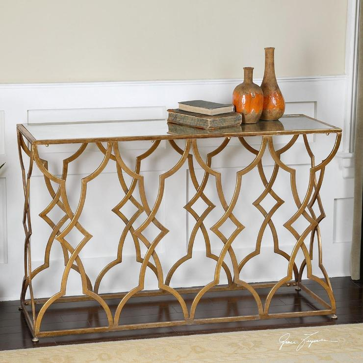 Gold Leaf Trim Mirrored Console Table