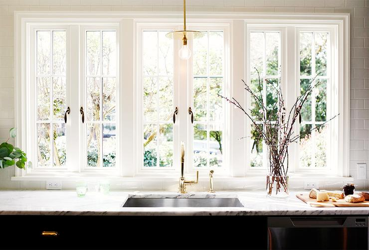 Kitchen Sink Under French Windows - Contemporary - Kitchen