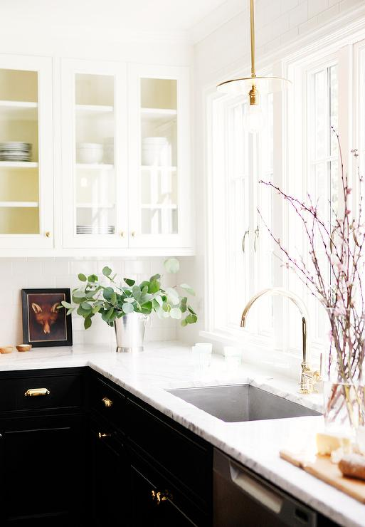 Black Kitchen Cabinets With Gold Pulls Contemporary