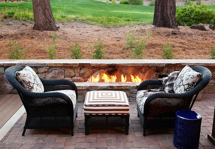 View Full Size. Amazing Patio Features Black Wicker Chairs Facing ...
