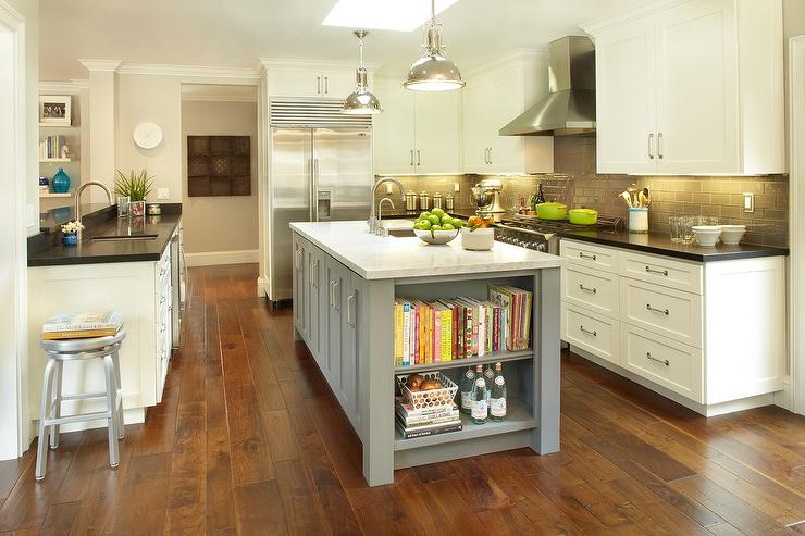 Gray center island with cookbook shelves transitional for Fitted kitchen cabinets