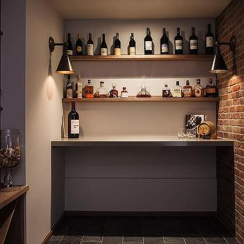 Wine Room With Exposed Brick Wall Transitional Basement