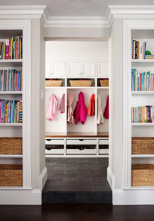 Mudroom With Pull Out Shoe Drawers Transitional