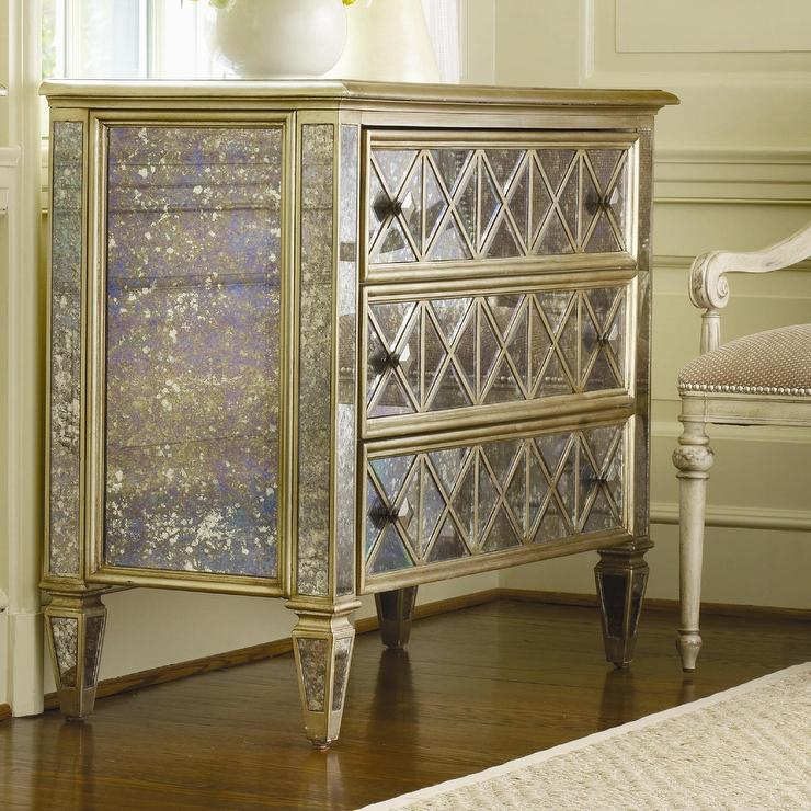 Hooker Furniture Sanctuary 3 Drawer Diamond Front Gold Dresser