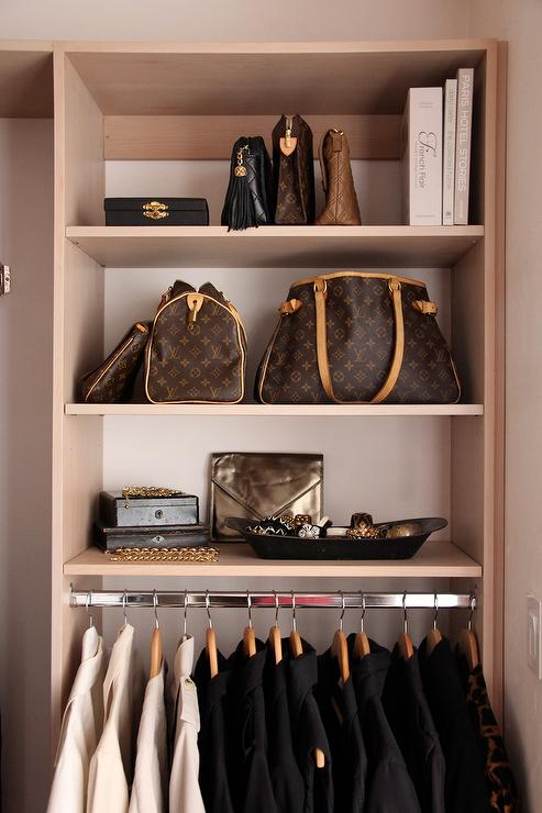 Shelves For Handbags Contemporary Closet Jerusha Couture