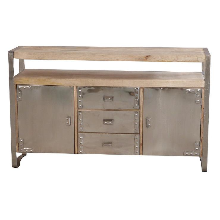 Yosemite Home Decor Chrome And Natural Sideboard