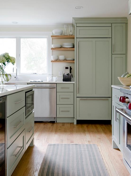 Sage green kitchen island floor to ceiling kitchen for Green and white kitchen designs