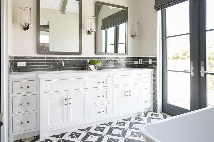 Charcoal Gray Bathroom Backsplash Transitional Bathroom
