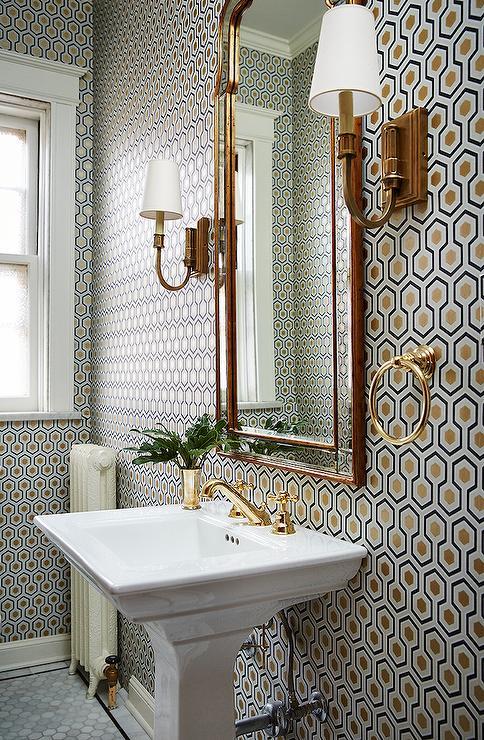 Hicks Hexagon Wallpaper In Powder Room Transitional