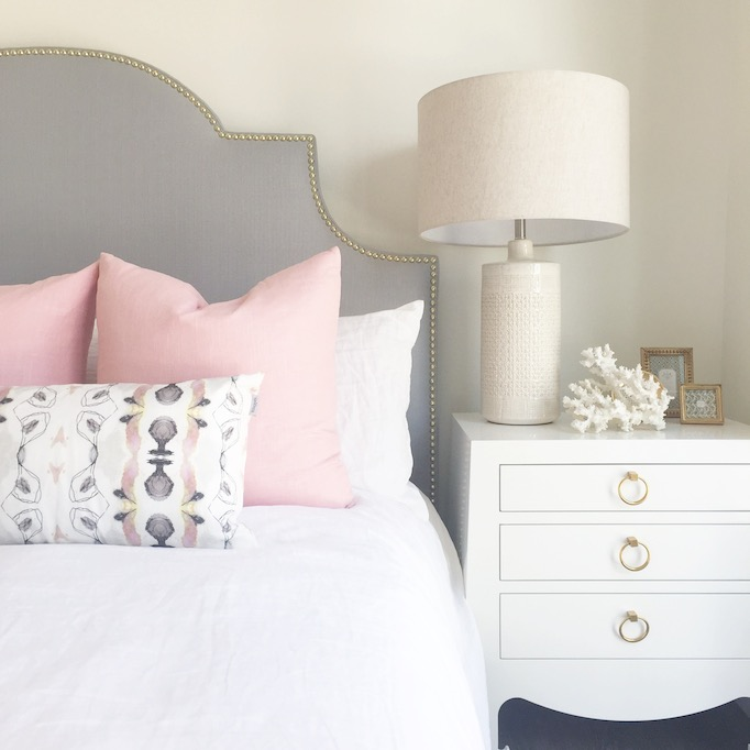 Gray Headboard With Pink Pillows Contemporary Bedroom